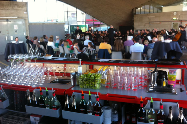 Cocktails Entertainment mobile bar prepared to serve drinks to the guests at the event