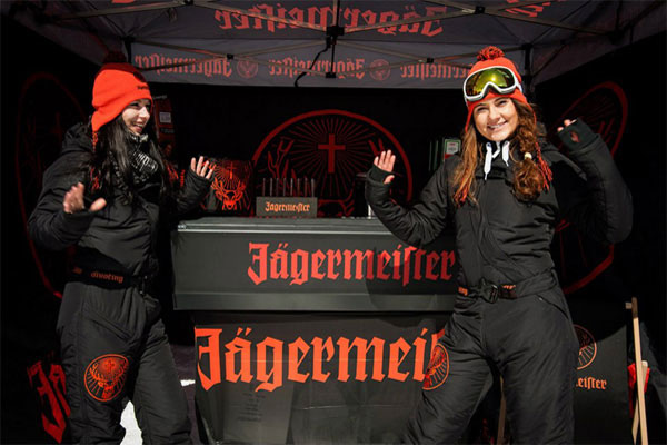 A jaegermeister portable bar at a ski resort