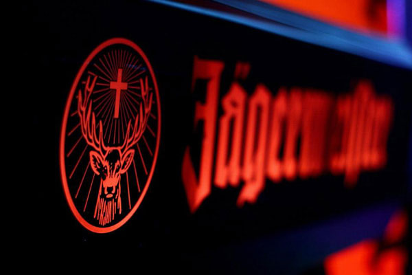 Close-up detail of a Jaegermeister branding