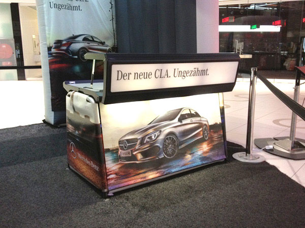 Mercedes-Benz info desk at brand activation event in Vienna