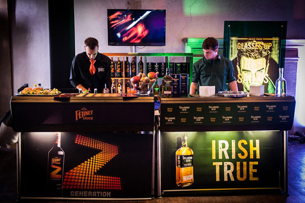 A Fernet Z branded Justincase bar and a Tulamore Dew Justincase bar at the Prague Bar Show in 2012