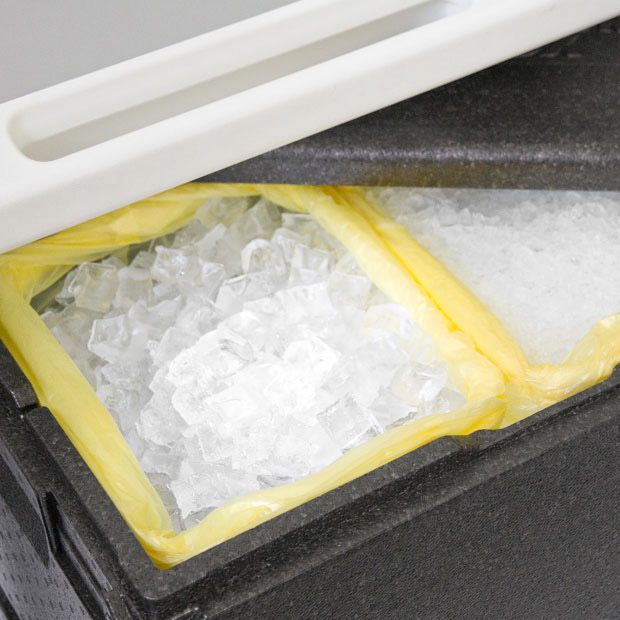 Thermo box ideal for caterings and events full of crushed ice