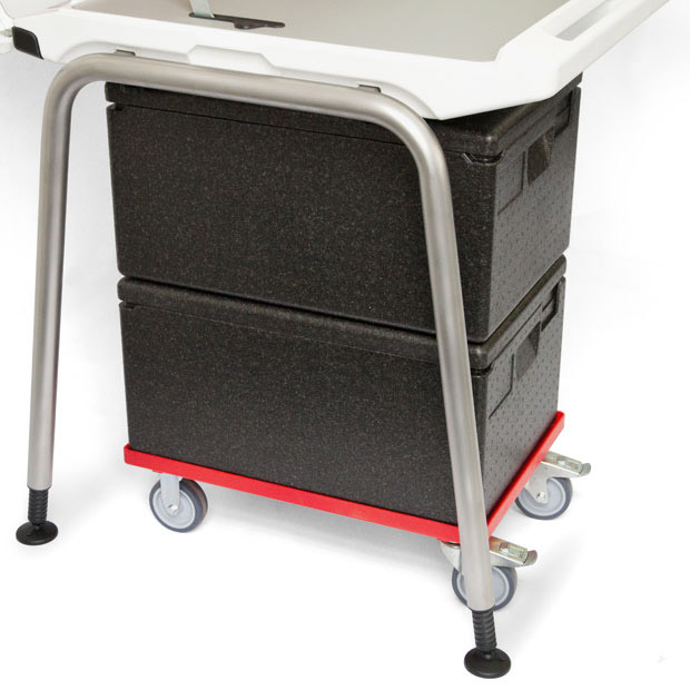 Ice boxes in trolley that can also be used to stack transport boxes