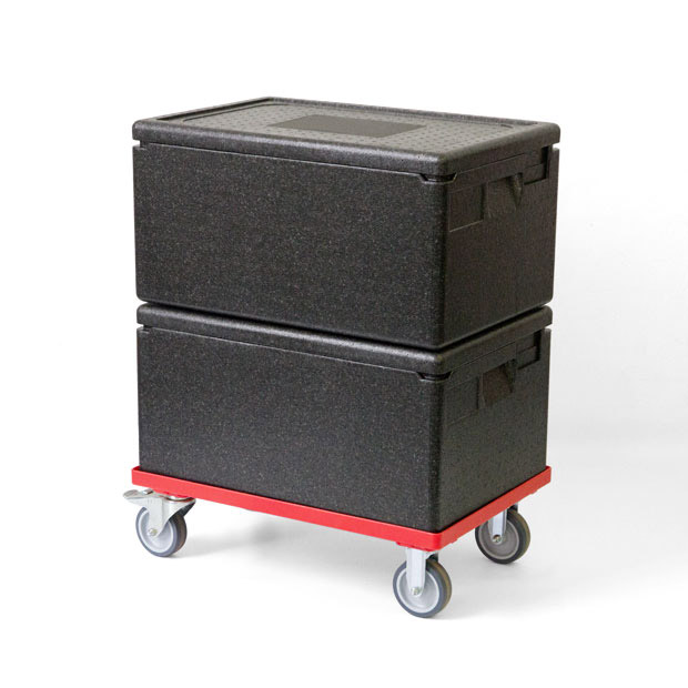Thermo ice box set consisting of two ice boxes and a trolley for better transportation