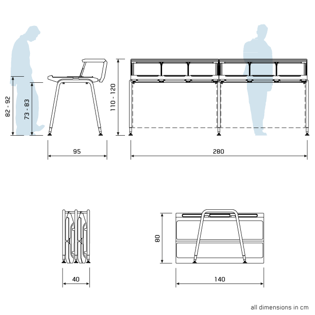 General dimensions for the Justincase Mobile bar double set in the open and closed positions