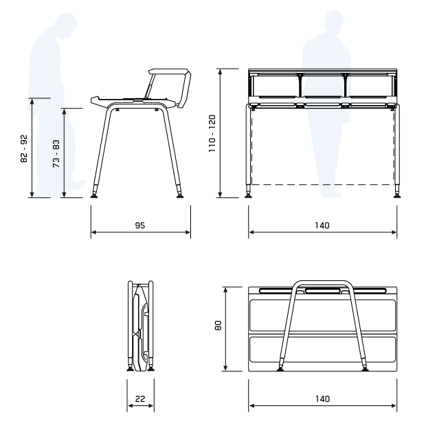 General dimensions for the Justincase Mobile bar single set in the open and closed positions