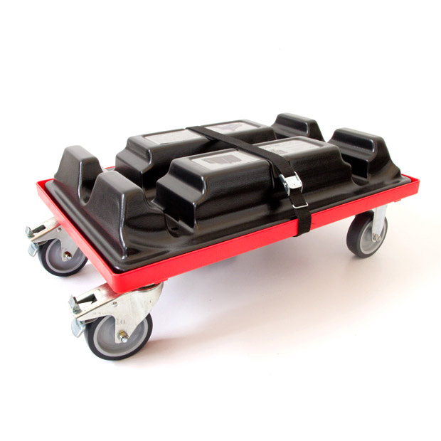 The Justincase double skater holds a double bar for easy transport. The trolley doubles as wheels for the transport and ice boxes