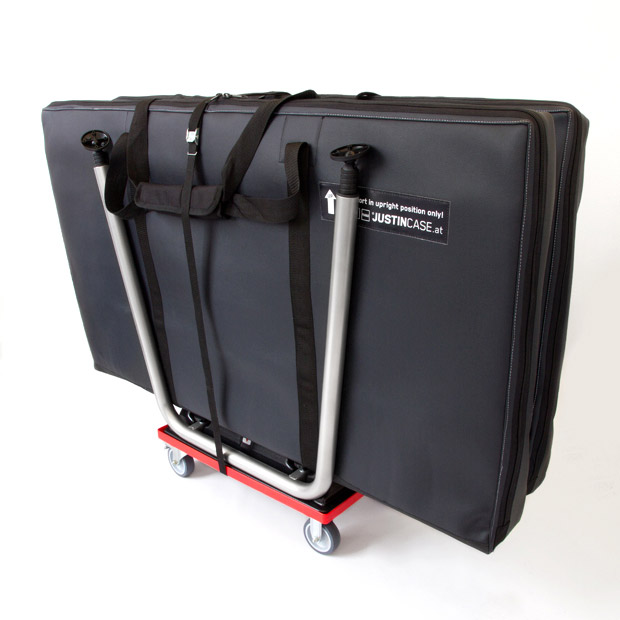 Four wheel trolley for transporting two Justincase mobile bars