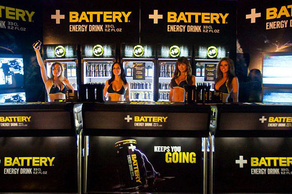 Bar for energy drink with portable bars and energy drink fridges