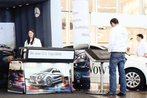 Justincase bar used as info desk for the Mercedes-Benz CLA road show